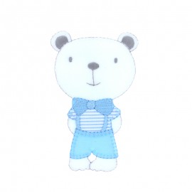 Baby Iron-On Patch - blue chic teddy bear