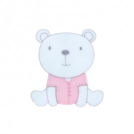 Baby Iron-On Patch - pink sitting teddy bear