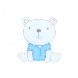 Baby Iron-On Patch - blue sitting teddy bear