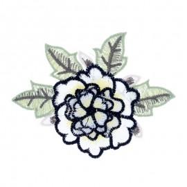 Appliqué fleur brodée Rose - blanc