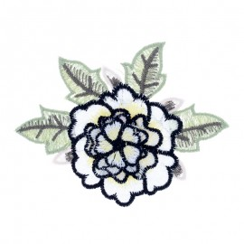 Embroidered applique flower - white Rose