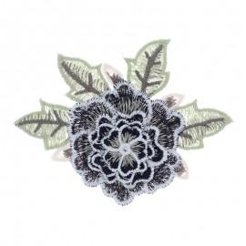 Embroidered applique flower - black Rose