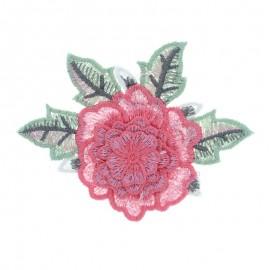 Embroidered applique flower - pink Rose