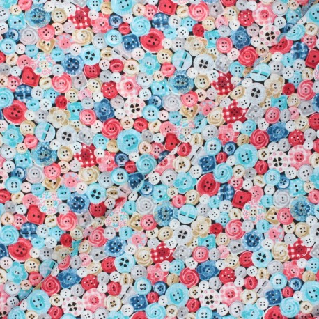 Makower UK Fabric Stitch in Time - blue/pink Buttons x 10cm