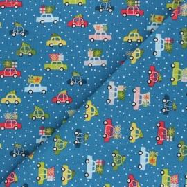 Tissu coton Makower UK Joy Voitures - bleu x 10cm