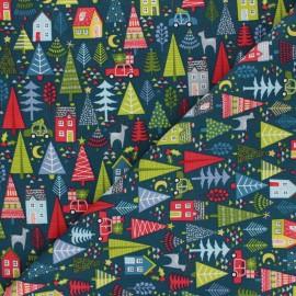 Makower UK Fabric Joy - peacock green Trees x 10cm