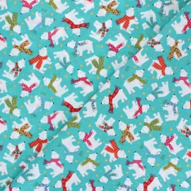 Tissu coton Makower UK Let it Snow Ours Polaires - turquoise x 10cm