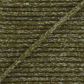 6mm round Lurex cord - khaki green x 1m
