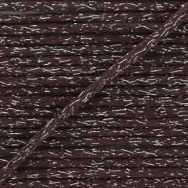 6mm round Lurex cord - brown x 1m