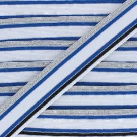 40mm Elastic band Shiny Workout - blue/white x 50cm