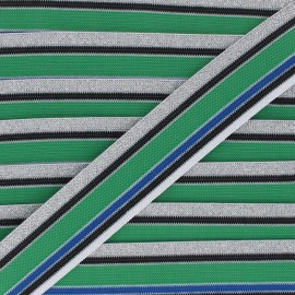 40mm Elastic band Shiny Workout - blue/green x 50cm