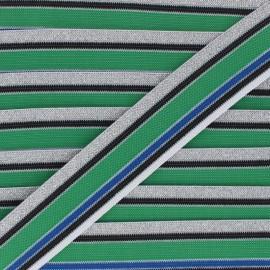 40mm Elastic band Shiny Workout - blue/green x 50cm