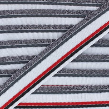 40mm Elastic band Shiny Workout - white/grey x 50cm