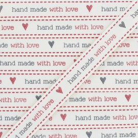 "Ruban aspect gros grain ""Hand made with love"" -  écru x 1m"