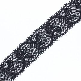 Ruban dentelle élastique Florence 65mm - noir x 1m