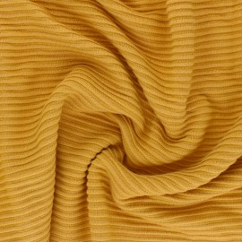 ♥ Coupon 150 cm X 160 cm ♥ Tissu maille Viscose Ottoman Knit - jaune moutarde