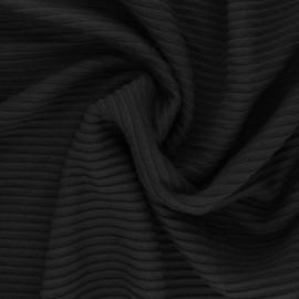 ♥ Coupon 90 cm X 160 cm ♥ Tissu maille Viscose Ottoman Knit - noir
