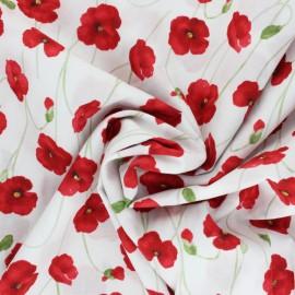 Tissu coton Kokka Poppy Garden - rouge x 10cm