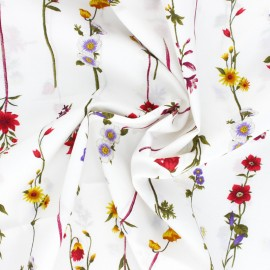 Kokka Cotton fabric - white Flowers Stripes x 10cm