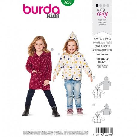 Patron Veste et Manteau enfant Burda Style n°9289