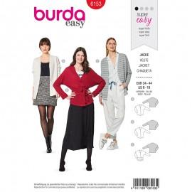Patron Veste Cardigan épaules débordantes Femme - Burda n°6153