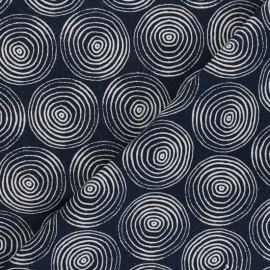 Linen/Cotton Dashwood fabric Midnight Garden - Circles x 10cm
