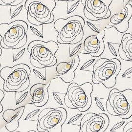 Linen/Cotton Dashwood fabric Midnight Garden - Gold flower x 10cm