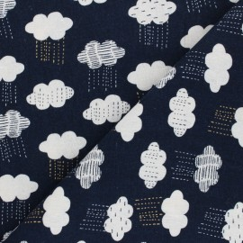 Linen/Cotton Dashwood fabric Midnight Garden - Rainy Night x 10cm