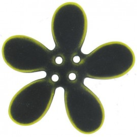 Large flower button 50 mm - black/yellow