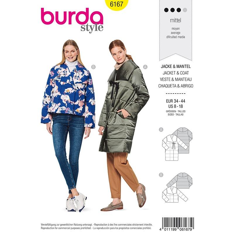 Quilted Coat Sewing Pattern Burda N, Long Winter Coat Sewing Pattern