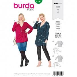 Patron tunique t-shirt cache cœur Grande taille Femme –  Burda N°6197