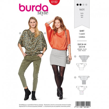 Blouse and dress Sewing Pattern - Burda Style n°6192