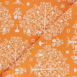 Maywood Studio cotton fabric - orange Paper Cut Tree Spellcaster's Garden x 10 cm