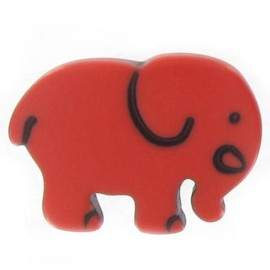 Button, Elephant - red
