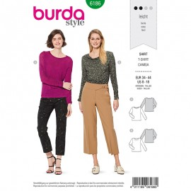 Patron t-shirt manches drapées Femme –  Burda N°6186
