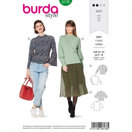 Patron t-shirt bishop Femme –  Burda N°6178