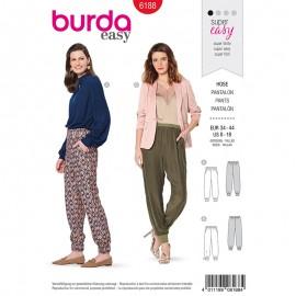 Patron pantalon ceinture élastique Femme - Burda n°6188