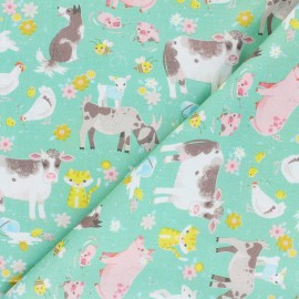 Tissu coton Blend fabrics On this Farm - Animal Acres - vert x 10 cm