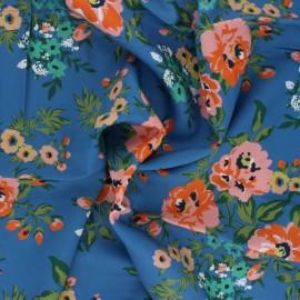 Cloud 9 rayon fabric - blue Sweet Rose x 10 cm