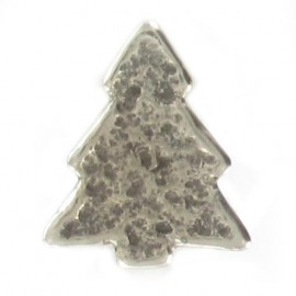 Metal button, pine tree - silver