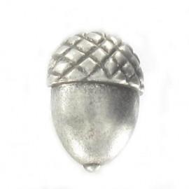 Metal aspect button, acorn - silver