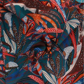 Viscose fabric Atelier Jupe -  petrol blue Ethnica x 10cm