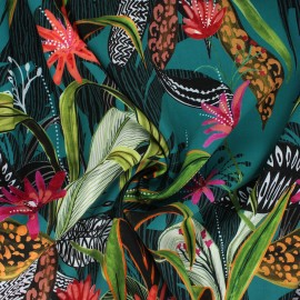 Tissu viscose Atelier Jupe - Tropica lagon x 10cm