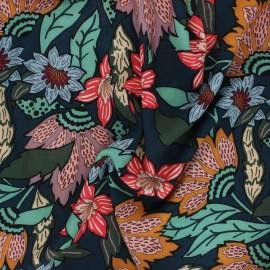Viscose fabric Atelier Jupe -  petrol blue Floralia x 10cm