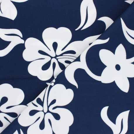 Hoffman cotton fabrics - navy blue Tropicals & Conversationals x 10cm