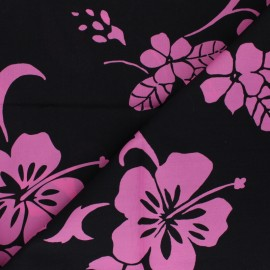 Tissu Hoffman Fabrics Tropical Flowers - rose x 10cm
