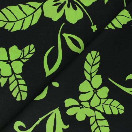 Hoffman cotton fabrics - green Tropical Flowers x 10cm