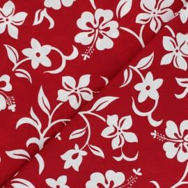 Tissu Hoffman Fabrics Small Hibiscus - rouge x 10cm