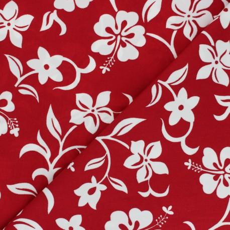 Hoffman cotton fabrics - red Small Hibiscus x 10cm