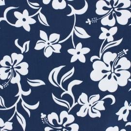 Hoffman cotton fabrics - navy blue Small Hibiscus x 10cm